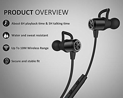 HIPPOX Cuffie Bluetooth, Wireless Bluetooth Auricolari Stereo Magnetici Stereo Secure Fit per lo Sport con il Mic incorporato