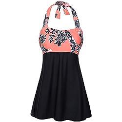 FeelinGirl Vestido de Traje de Baño Una Pieza Talla Grande con Pantalones Seguros para Mujer (XXL(ES 46-48), Negro-narange)