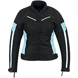 Chaqueta impermeable de alta protección para mujer, color negro/azul, modelo ARMOURWCJ-1834T/azul
