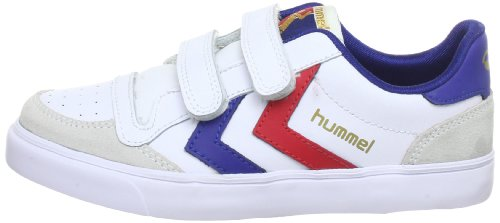 hummel STADIL JR LEATHER LOW Unisex-Kinder Sneakers Weiß (White/Blue/Red/Gum)