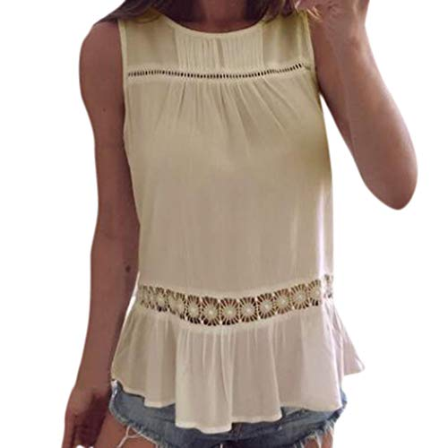 iHENGH Damen Top Bluse Bequem Lässig Mode T-Shirt Sommer Blusen Frauen ärmellose Sommer Neue solide Tank T-Shirts aushöhlen Tops(Gelb, L)