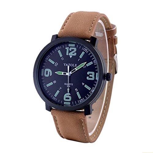 Internet Mode Leder LuxuxMens Militärquarz Armee Armbanduhr