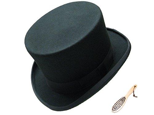VIZ-UK WEAR Qualitativ hochwertiger Zylinder aus 100% Wolle, schwarz, mit Reinigungsbürste, perfekt für Hochzeit, Rennbahn oder andere Ereignisse, Top-Produkt mit Satinfutter Gr. Small, Schwarz  -