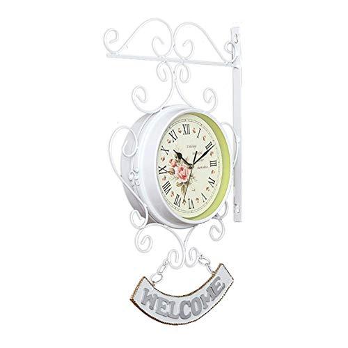 Zweiseitige Gartenuhr/Bahnhofsuhr/Wanduhr, Vintage Stille Doppelseitige Wanduhr, Europäische Stil Garten Outdoor Uhr, Romantisch - Mit Wand-Halterung, Leichte Montage, Weiß