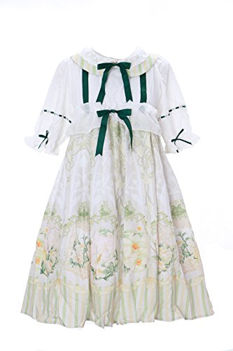 JSK-12 Vogel Bird creme weiß grün Vintage Baby-Doll Cute Pastel Gothic Lolita Kleid dress Cosplay Kostüm (Cute Doll Kostüme)