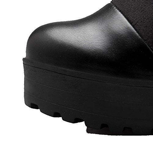 AalarDom Damen Hoch-Spitze Ziehen Auf Blend-Materialien Hoher Absatz Stiefel Schwarz