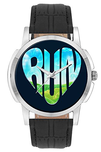 Wrist Watch - Run Motivational Illustration Analog Men's and Boy's Wrist Watch - Unique Analog Quartz Leather Band Wrist Watch by BigOwl