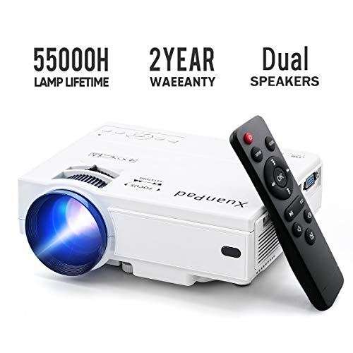 XuanPad Mini Proiettore, 55000 ore Portatile Videoproiettore Home Theater Proiettori