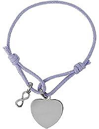2956fe185223 bijobaba© pulsera cordón color malva longitud ajustable corazón Pampille  símbolo infinito plata 925 – Personalizable