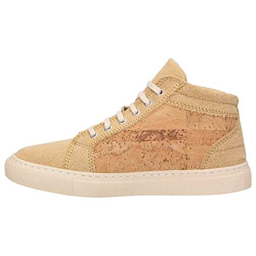ZWEIGUT® -Hamburg- echt #403 Damen High-Top Kork Sneaker vegan Schuhe mit Canvas und recycelter Sohle, Schuhgröße:39, Farbe:sand-kork - 3