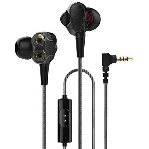 In-Ear Noise-isolierende Kopfhörer mit In-Line-Mikrofon/Controller, Stereo-Hi-Fi-Ohrhörer für Handys/MP3/PC/TV, Dual Dynamic, vier Lautsprecher, Schwarz + - Zyklus-sound-lautsprecher