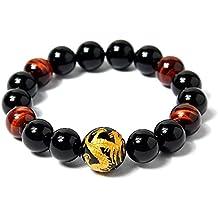 COAI® Bracelet Traditionnel Perles de Méditation Pierres Naturelles Obsidienne Noire Œil de tigre Rouge Gravure Gragon Agate Homme