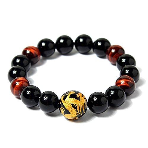 coai 12mm Bracelet Pierres Véritables Obsidienne Noire Œil de Tigre Rouge Dragon Gravé Homme