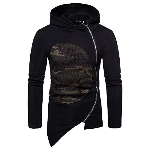 MIRRAY Herren Hooded Camouflage Patchwork Reißverschluss Mantel Jacke -