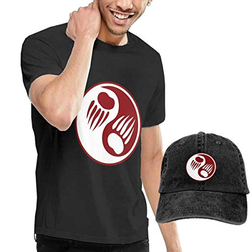Baostic Herren Kurzarmshirt Bear Paw Yin Yang Fashion Men's T-Shirt and Hats Youth & Adult T-Shirts -