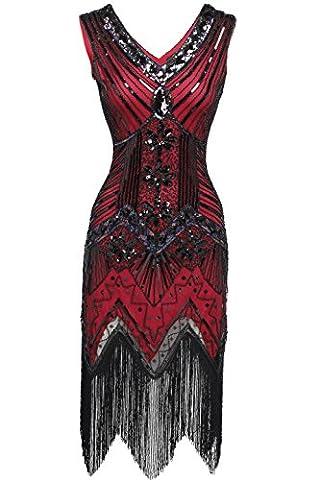 Babeyond robe flapper charleston vintage robe de bal robe de soirée robe de cocktail franges paillettes femme pour années 20 gatsby le magnifique étiquette L/42
