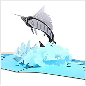 BC Worldwide Ltd handmade 3D pop up greeting card swordfish birthday Valentines day Christmas Xmas wedding anniversary father's day, papercraft gift for sea ocean and fishing fan enthusiast