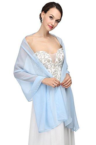 MicBridal® Chiffon Bolero Braut Jacke/Stola/Cape für Brautkleid Hochzeit in verschiedenen Farben (200*60cm, Hellblau)
