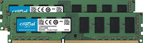 Crucial CT2K102464BD160B - Kit de Memoria RAM de 16 GB (8 GB x 2, DDR3L, 1600 MT/s, PC3L-12800, DIMM, 240-Pin)
