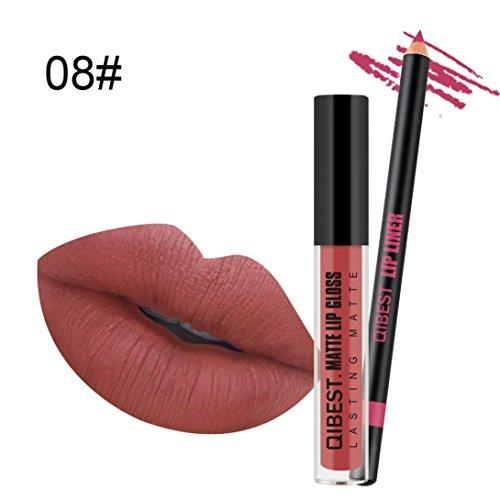 Yogogo 2018 Long Lasting Liquide Rouge à LèVres Waterproof Longue DuréE Mat Gloss à LèVres + Lip Liner Crayon Set Beauté CosméTique Maquillage (H)