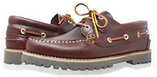 PORTMANN Berühmter Stil 1981, , Authentics 3 Eye Classic Lug Mokassins Bootsschuhe, Braun - Burgundy/Brown - Größe: 45