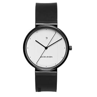 Jacob Jensen 752 – Reloj analógico de Cuarzo para Hombre con Correa de Caucho, Color Negro