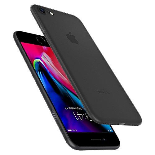 Spigen Coque iPhone 8, [Air Skin] Ultra Fine [Noir] Premium Semi-Transparent Léger/Adhérance Parfaite/Anti-Trace Coque pour Apple iPhone 8 (2017) - (054CS22591)