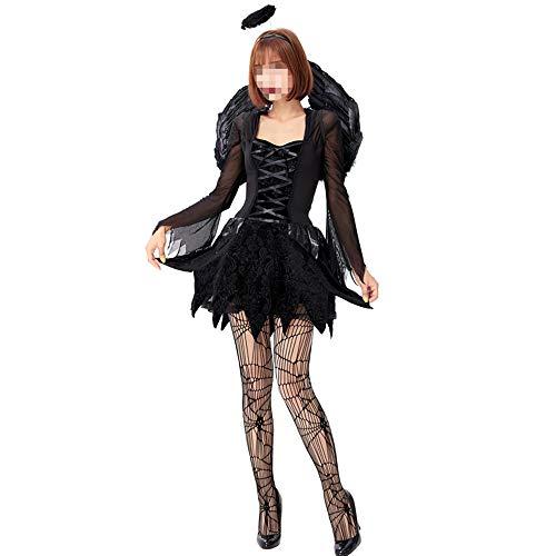 Kostüm Engel Mesh - Halloween kostüm, Halloween Cosplay kostüm Halloween Cosplay Horror Kostüm,Cosplay Black Evil Fallen Engel Mesh Kleid Mit Flügeln