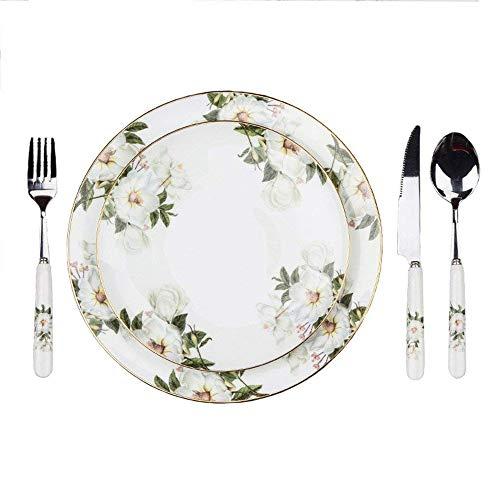 Porcelana Cerámica Flor Servicio de Platos de Comida Vajillas Completas Vajilla Redondo Juegos de Mesa Taza de Cafe 5 Piezas