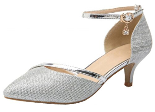 5348a555d86dc4 DADAWEN Women s Closed Toe Court Shoes Ankle Strap Kitten Heel Wedding  Dress Pumps Silver UK 6