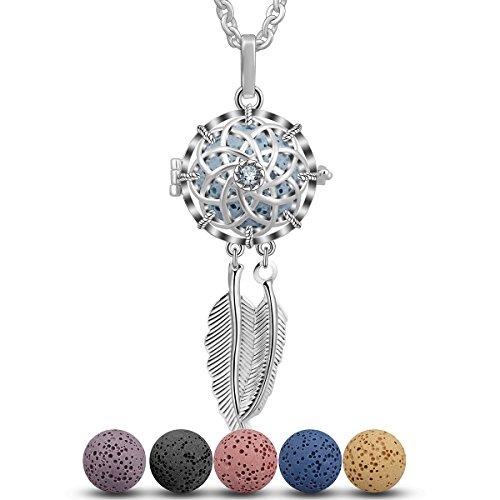 INFUSEU versilbert Aromatherapie ätherisches Öl Diffusor Medaillon Anhänger Halskette mit 5 gefärbten Lava Stein Perlen Kette (Traumfänger)