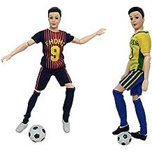 Zantec Accesorios de Muñeca Futbolista Alla Tema de Copa del Mundo, Fútbol + Zapatillas para