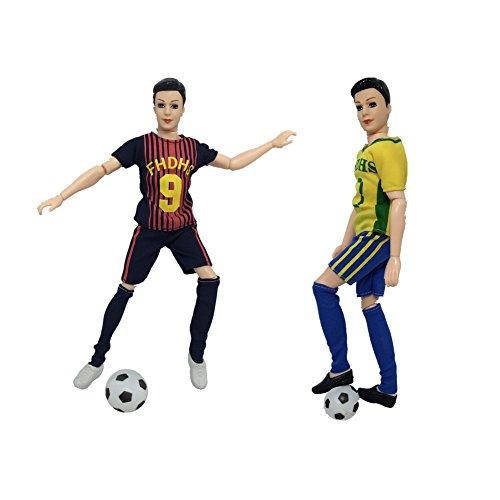 Zantec Accessori di bambola calciatore alla tema di Coppa del Mondo, calcio + scarpe per Ken Doll