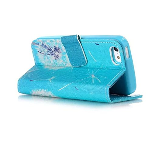 5S Coque, iPhone 5S Coque, Lifeturt [ Worry Elephant Dont 'Be Happy ] Coque Dragonne Portefeuille PU Cuir Etui en Cuir Folio Housse, Leather Case Wallet Flip Protective Cover Protector, Etui de Protec E02-Pissenlit111383