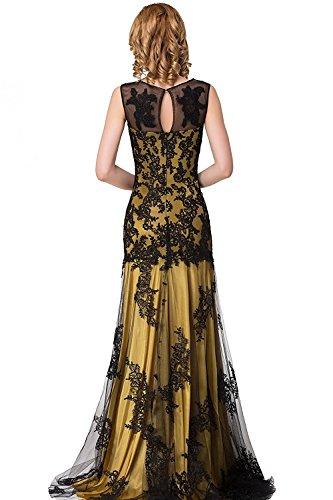 Damen Elegant Lang Abschlusskleider Mit Spitzen Abendkleid Ballkleid Brautjungferkleider Gold 36