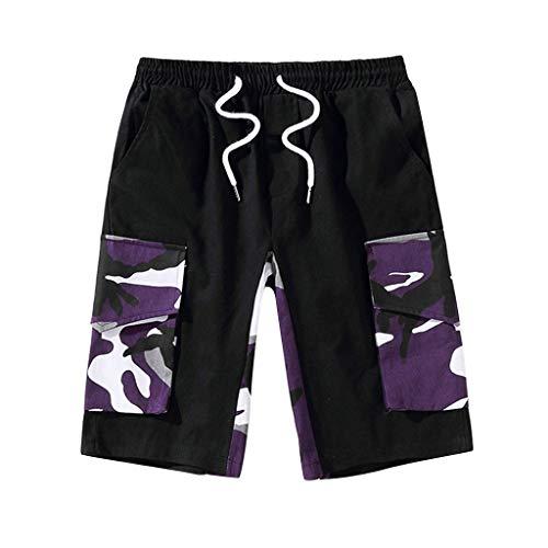 Jogginghose Bermuda Shorts Badehose,SUNFANY Herren Sommer Freizeit Camouflage Overalls Fashion Multi-Pocket-HosenRegular Fit(Lila,XXXXXL) -