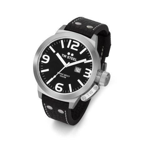 TW Steel TW Steel TW-22 - Reloj de caballero de cuarzo con correa de piel negra