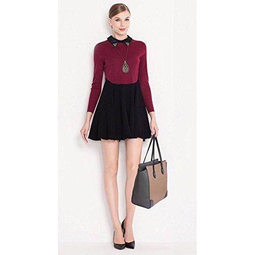 LeahWard® Élégance Grete Taille Sacs Épaule Pour Femme Styliste Sac achats , Cabas Sacs À Main A4 335 00351-Gray/Nude (37.5x16x32cm)