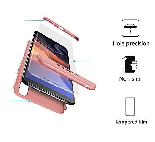 xinyunew Funda Compatible con Xiaomi Mi MAX 3,360 Grados Protección Case + Pantalla de Cristal Templado,3 in 1 Anti-Arañazos Carcasa Case Caso Fundas teléfonos Móviles para - Rose Oro