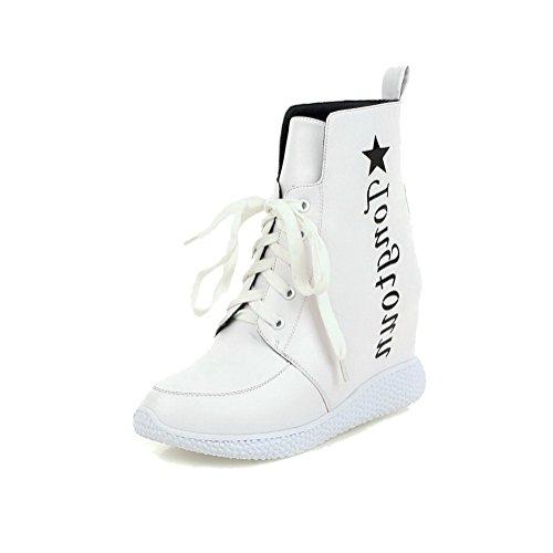 VogueZone009 Damen Gemischte Farbe Hoher Absatz Schnüren Rund Zehe Stiefel mit Knoten, Weiß, 36