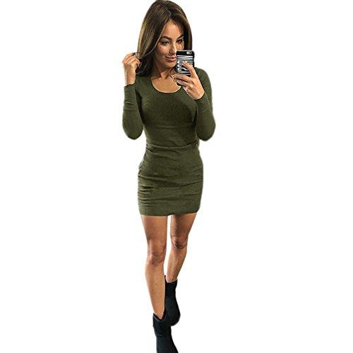Reasoncool Dress Slim manica lunga Solid donne sexy di modo (M, Army Green)
