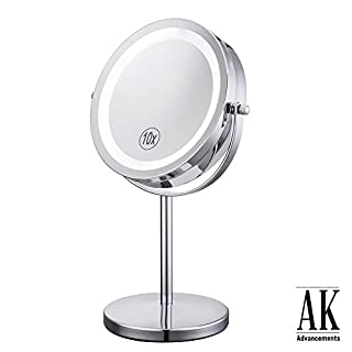 AK Advancement Beauty Double Sided Table 10x Magnification LED Makeup Vanity Mirror With Lights