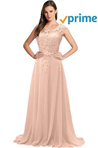 Gorgeous Bride Modisch Lang Rundkragen A-Linie Chiffon Tuell Spitze Schleppe Abendkleider...