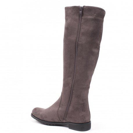 Ideal Shoes - Bottes effet daim à strass Aurane Gris