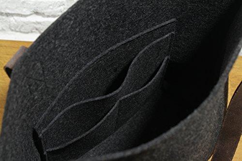 "Pack & Smooch Tote Bag Shopper ""York"" 100% Anthrazit/Dunkelbraun Merino Wollfilz Pflanzlich Gegerbtes Leder Handmade in Germany"