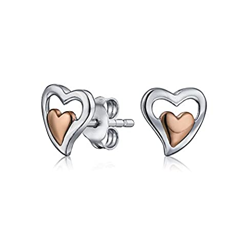Rose Gold Plated 925 Silver Double Heart Stud Earrings 7mm