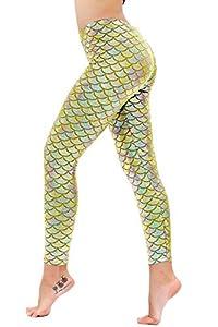 DIAMONDKIT Damen Sexy Mermaid Fish Scale Hologramm Stretch Weiche Glanz Leggings