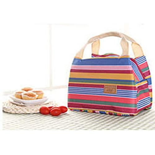 Preisvergleich Produktbild LouiseEvel215 Los bolsos de la comida campestre de la Raya de la lona aislada llevan EL bolso Portable termal del almuerzo de la venta Caliente