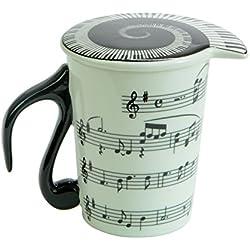 Taza de cerámica de la taza de café con leche músico bastones para notas musicales con tapa de Piano de la canción, cerámica, estilo B