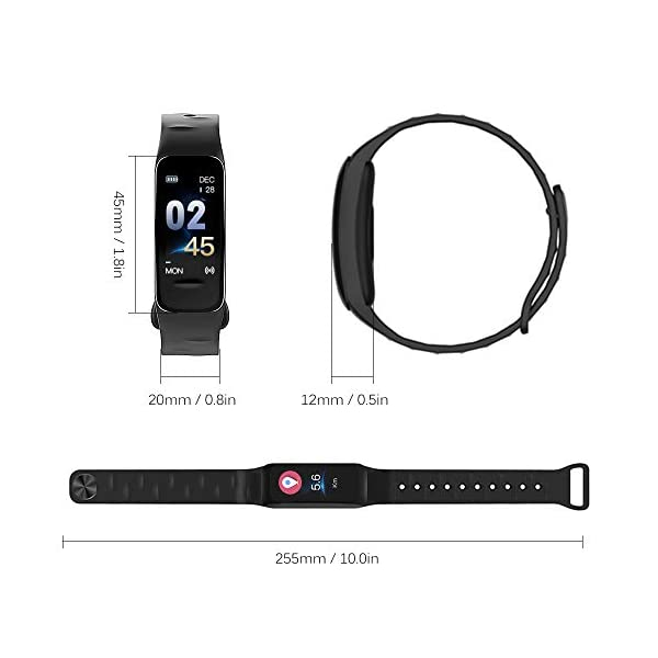Explopur Smart Bracelet Women Men - IP67 Fitness Tracker Watch-Heart Rate Presión sanguínea Oxígeno sanguíneo Contador… 3